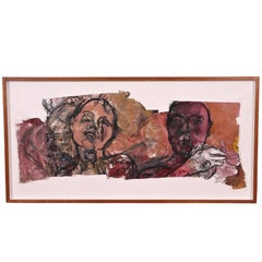 Large-Scale Modern Watercolor on Paper with Faces