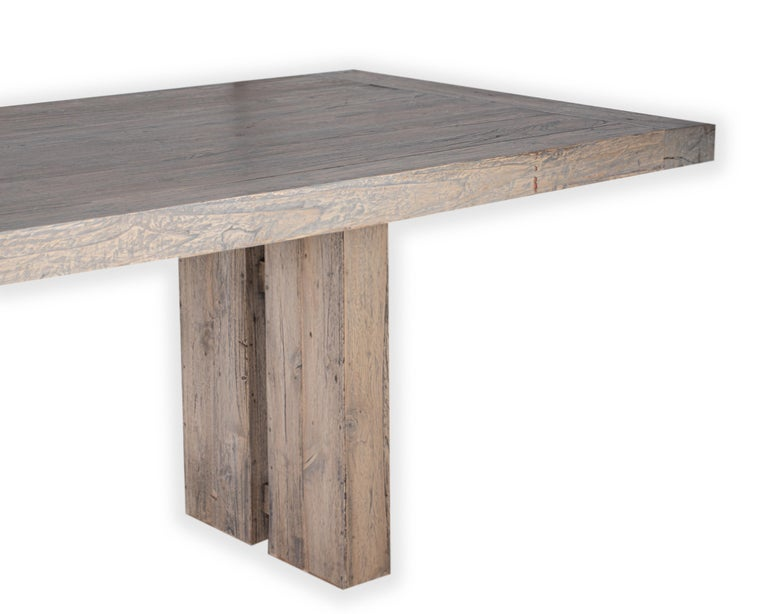Large scale modernist reclaimed elm dining table.   Exclusive to Brendan Bass.