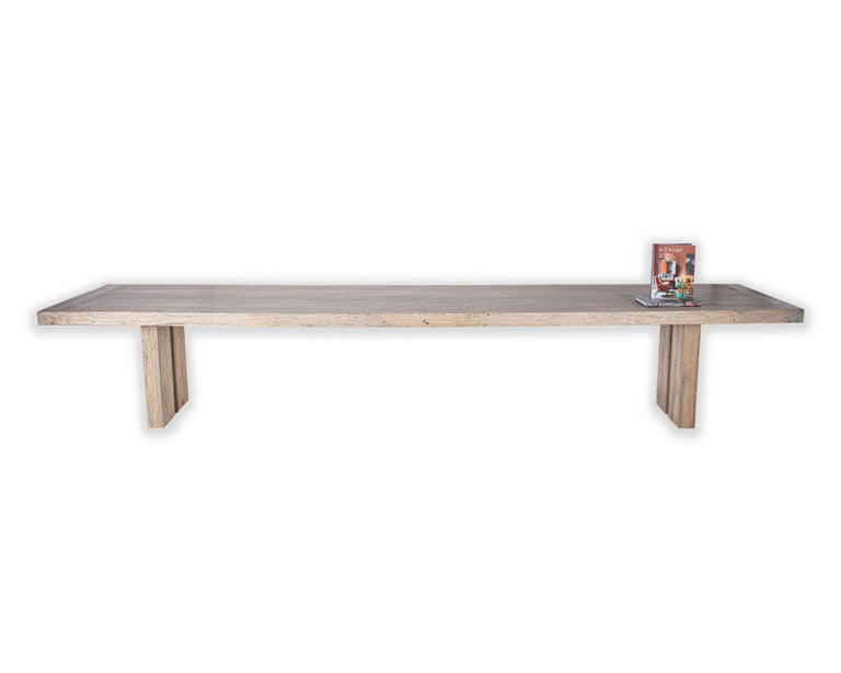 Reclaimed Wood Large Scale Modernist Reclaimed Elm Dining Table For Sale