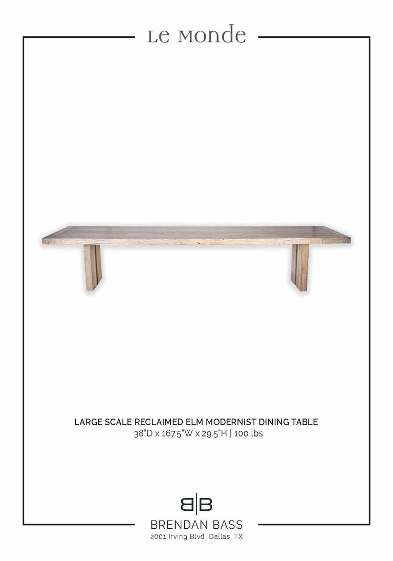 Large Scale Modernist Reclaimed Elm Dining Table For Sale 1