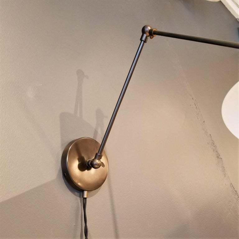American Large Scale 'Monarch' Articulated Wall Mount Lamp in Bronze, Blueprint Lighting For Sale