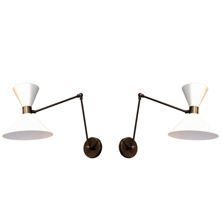 Large Scale 'Monarch' Articulated Wall Mount Lamp in Bronze, Blueprint Lighting For Sale