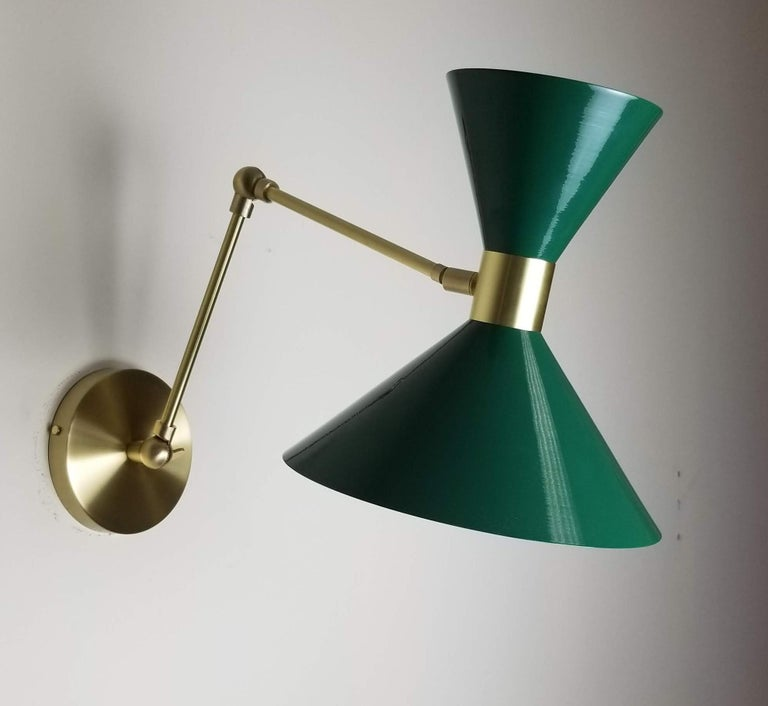 Mid-Century Modern Large Scale Monarch Wall Mount Lamp in Brass, Emerald Green, Blueprint Lighting For Sale
