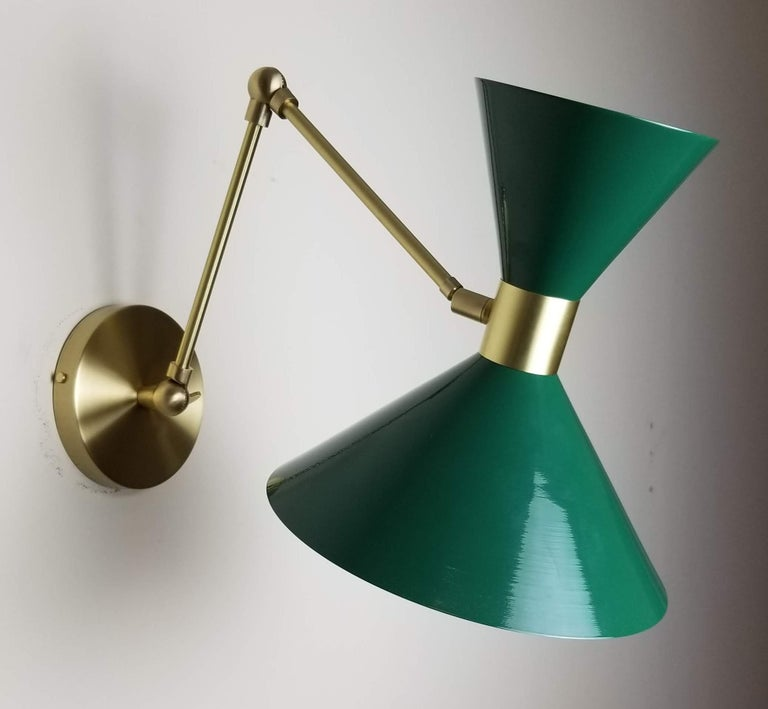 American Large Scale Monarch Wall Mount Lamp in Brass, Emerald Green, Blueprint Lighting For Sale
