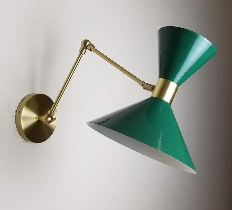 Polished Large Scale Monarch Wall Mount Lamp in Brass, Emerald Green, Blueprint Lighting For Sale