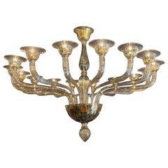 Large Scale Murano Glass 16 Light Modern Chandelier