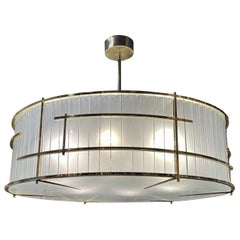 Large Scale Murano Glass and Brass Round Chandelier