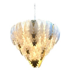 Large Scale Murano White and Gold Glass Leaf Form Waterfall Chandelier