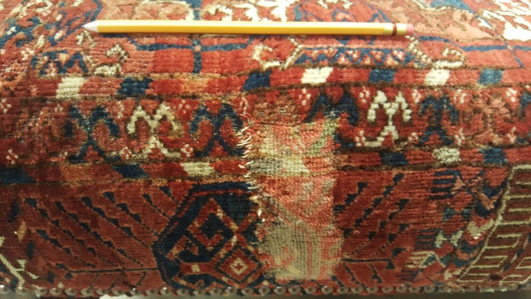 Large Scale Ottoman Upholstered with a Vintage Rug Textile For Sale 6
