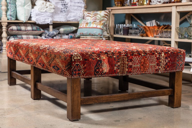 Arts and Crafts Large Scale Ottoman Upholstered with a Vintage Rug Textile For Sale
