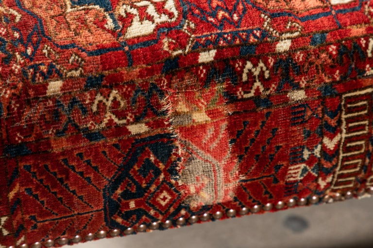 Contemporary Large Scale Ottoman Upholstered with a Vintage Rug Textile For Sale