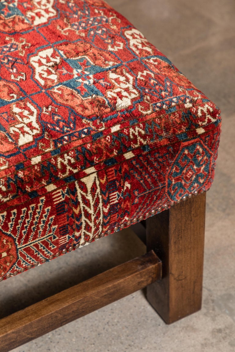 Large Scale Ottoman Upholstered with a Vintage Rug Textile For Sale 1