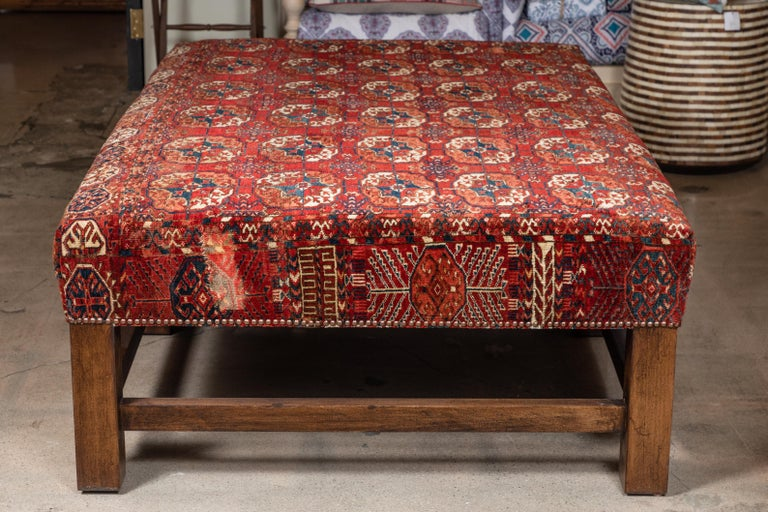 Large Scale Ottoman Upholstered with a Vintage Rug Textile For Sale 2