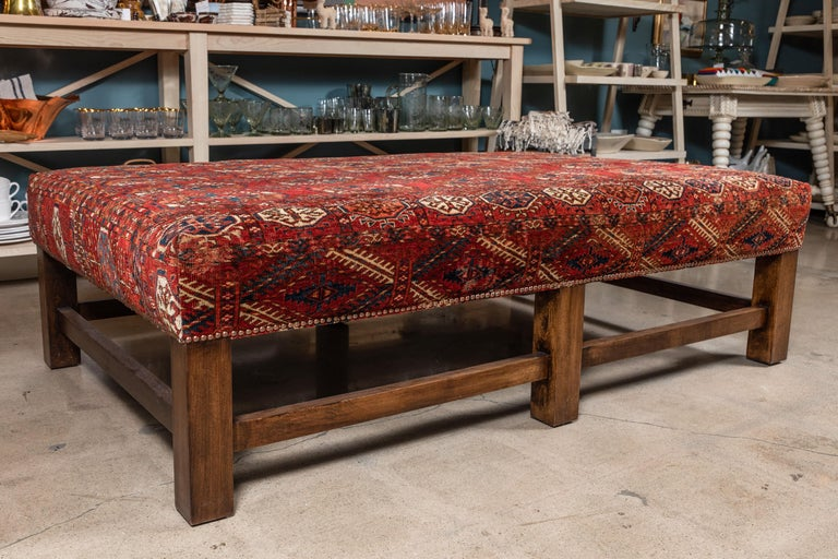Large Scale Ottoman Upholstered with a Vintage Rug Textile For Sale 3