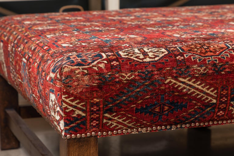 Large Scale Ottoman Upholstered with a Vintage Rug Textile For Sale 4