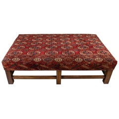 Large Scale Ottoman Upholstered with a Vintage Rug Textile