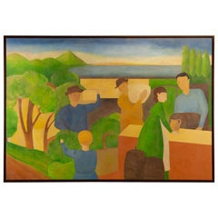 Large Scale Painting of Landscape and Market with Trees and Cyprus by Alisa Garr