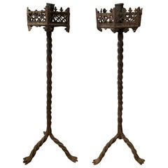 Large Scale Pair of 19th Century Continental Iron Prickets with Candlesticks