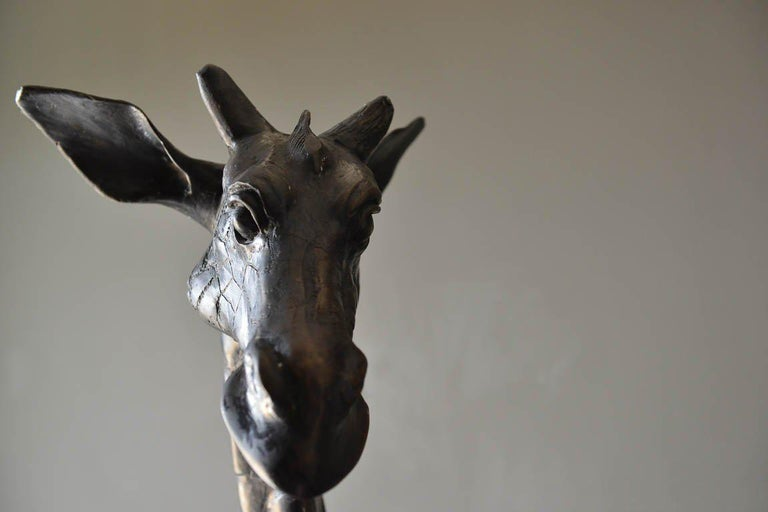 Large Scale Pair of Bronze Giraffe Statues, circa 1970 For Sale 5