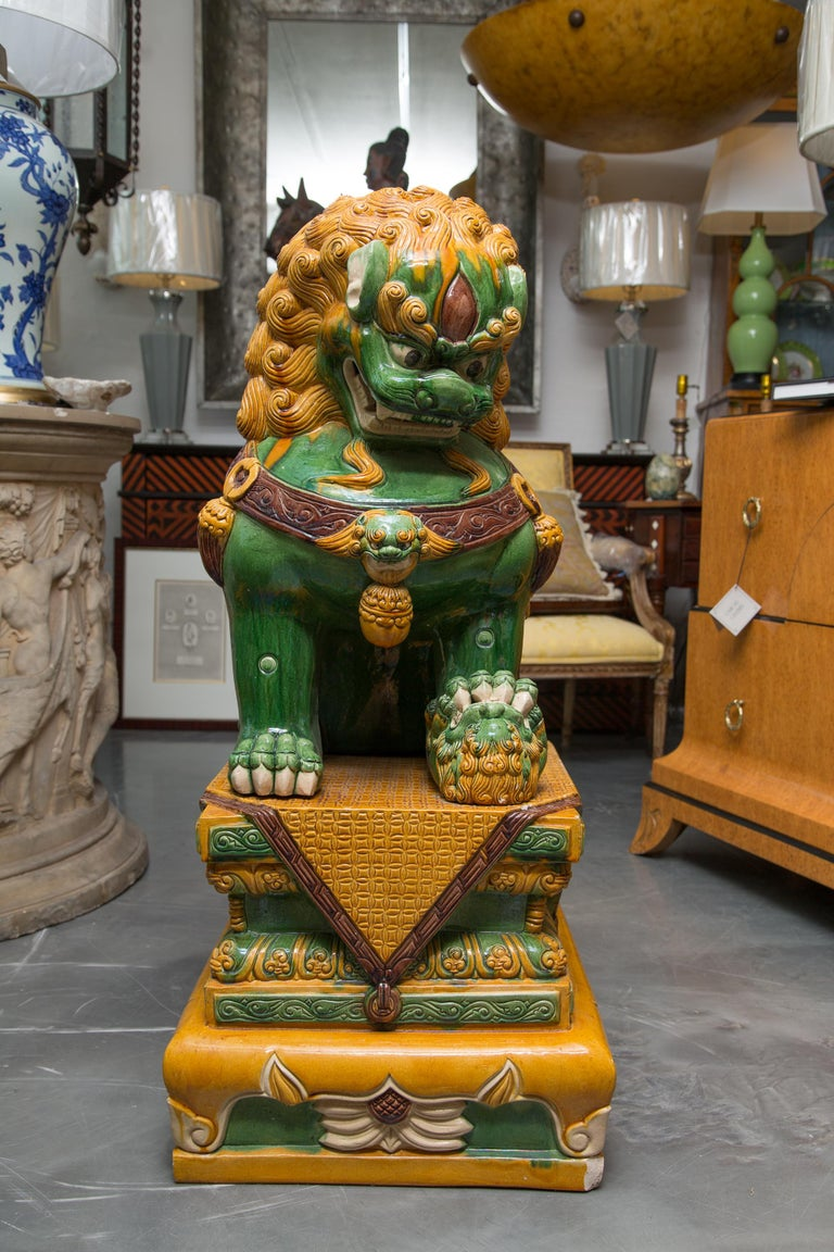Large Scale Pair Of Colorful Foo Dogs For Sale At 1stdibs