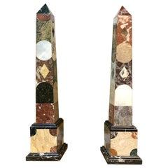 Large Scale Pair of Grand Tour Style Specimen Marble Obelisks