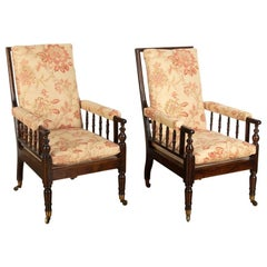 Large Scale Pair of Regency Library Armchairs