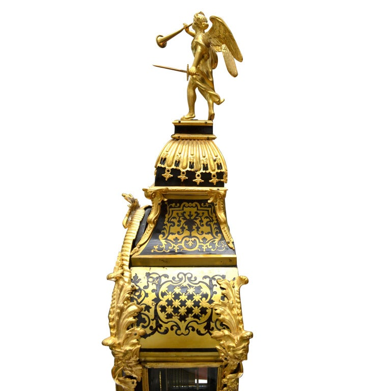 Large Scale Period Louis XIV Boulle Cartel Clock with Matching Plinth/Bracket For Sale 4