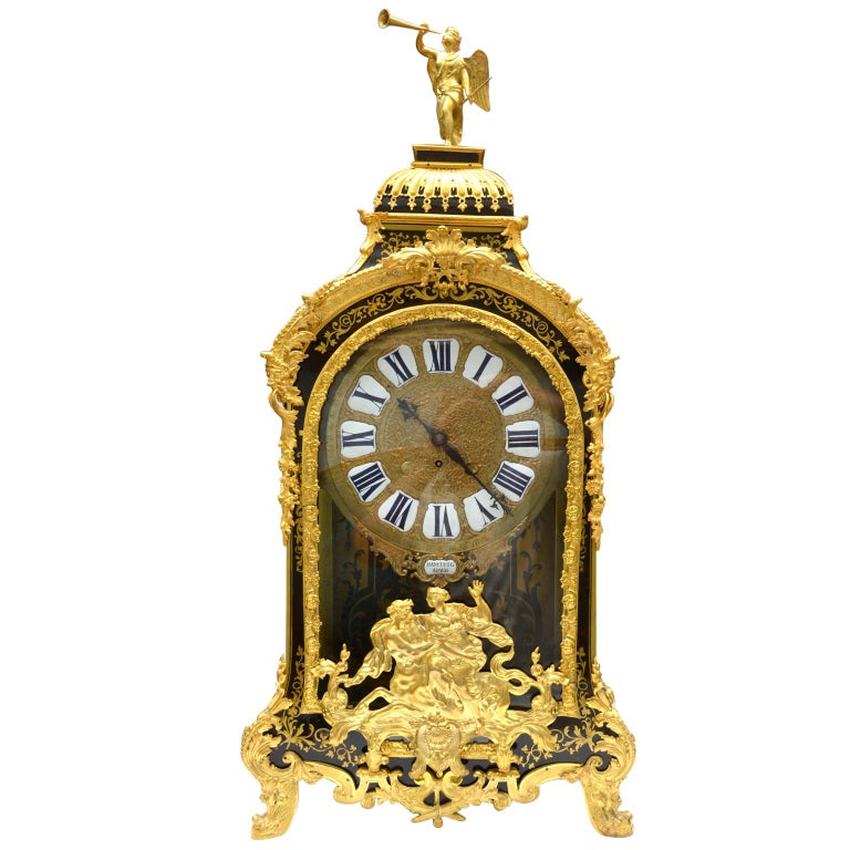 French Large Scale Period Louis XIV Boulle Cartel Clock with Matching Plinth/Bracket For Sale