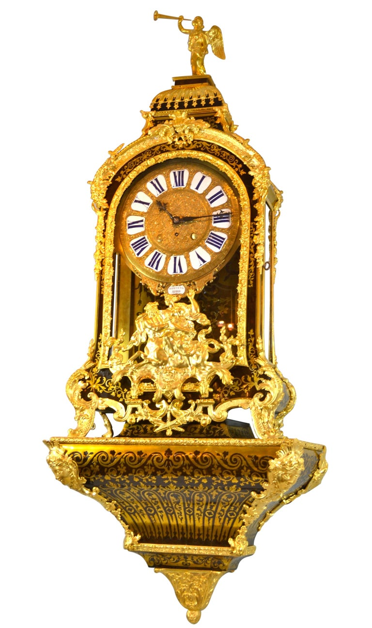 Carved Large Scale Period Louis XIV Boulle Cartel Clock with Matching Plinth/Bracket For Sale