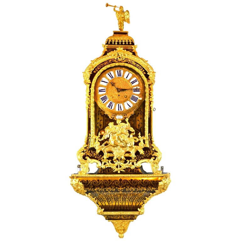 Large Scale Period Louis XIV Boulle Cartel Clock with Matching Plinth/Bracket For Sale