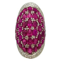 Large Scale Platinum Cocktail Ring with Diamonds and Rubies