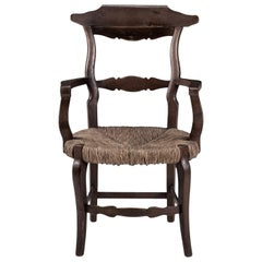 Large Scale Rustic Rush Seat French Chair