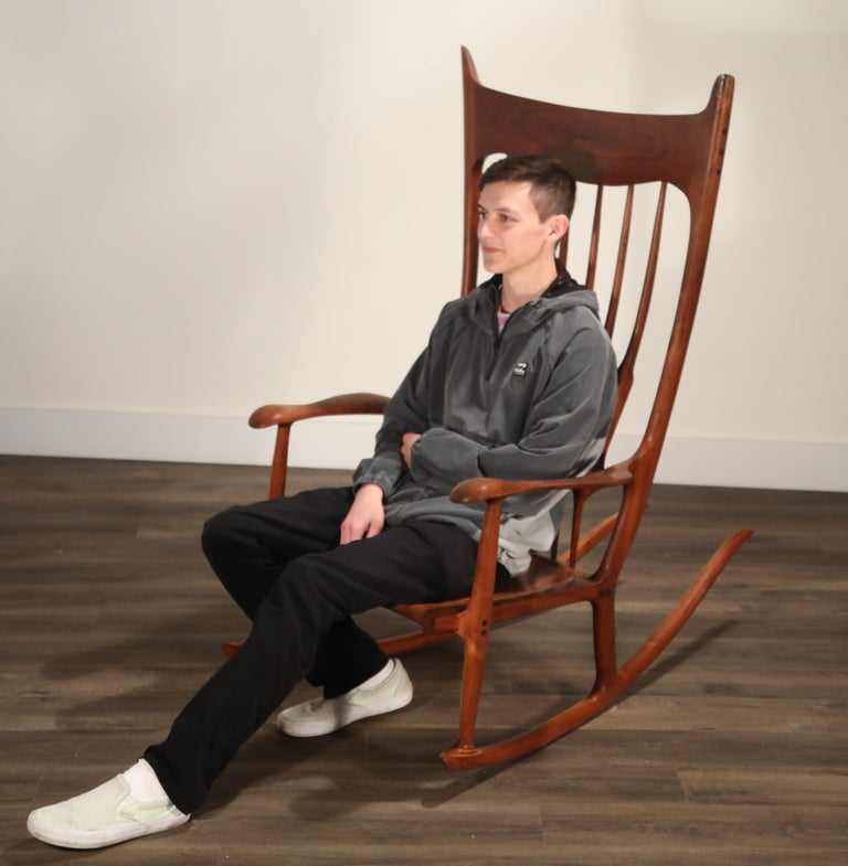 Large Scale Sam Maloof Style Studio Craftsman Rocking Chair, Signed and Dated For Sale 3