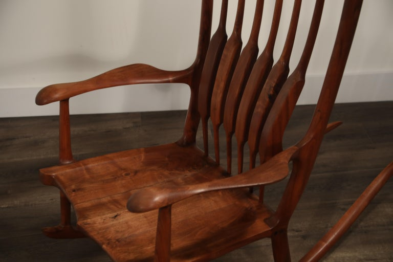 Large Scale Sam Maloof Style Studio Craftsman Rocking Chair, Signed and Dated For Sale 6