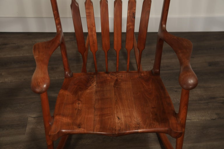 Large Scale Sam Maloof Style Studio Craftsman Rocking Chair, Signed and Dated For Sale 7