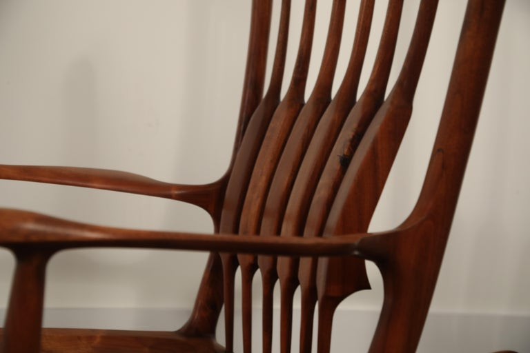 Large Scale Sam Maloof Style Studio Craftsman Rocking Chair, Signed and Dated For Sale 8