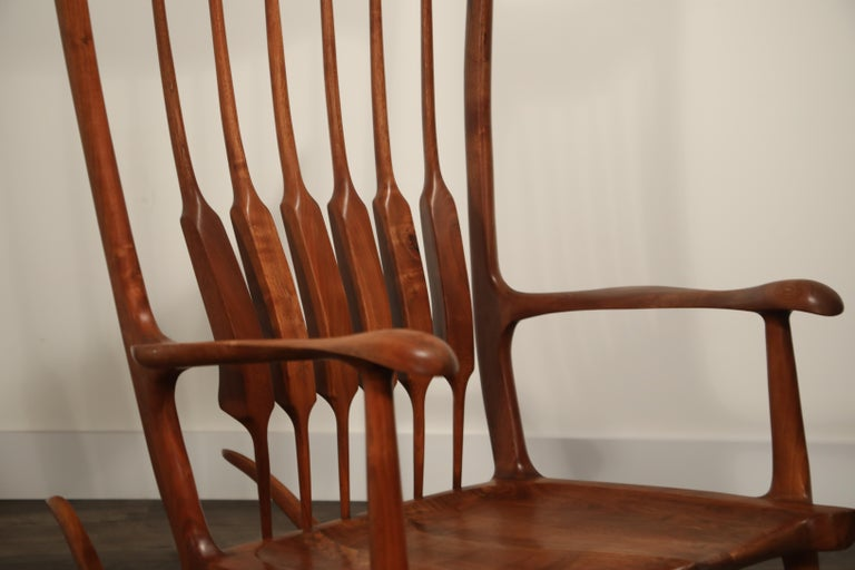 Large Scale Sam Maloof Style Studio Craftsman Rocking Chair, Signed and Dated For Sale 9