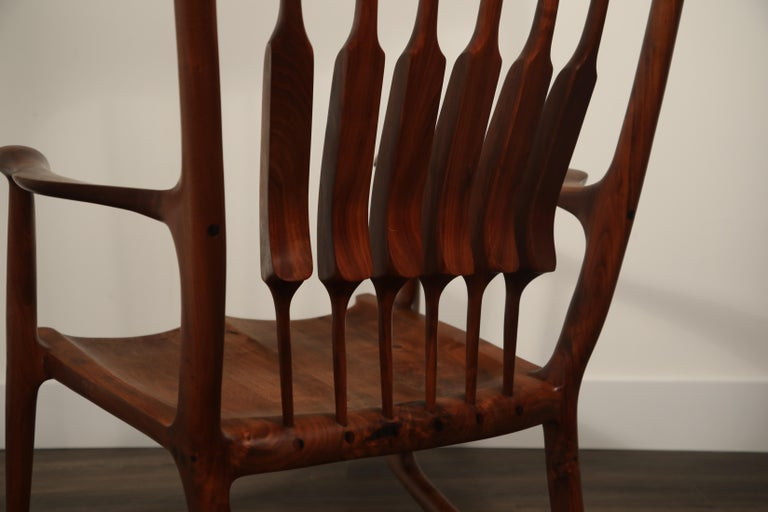 Large Scale Sam Maloof Style Studio Craftsman Rocking Chair, Signed and Dated For Sale 10