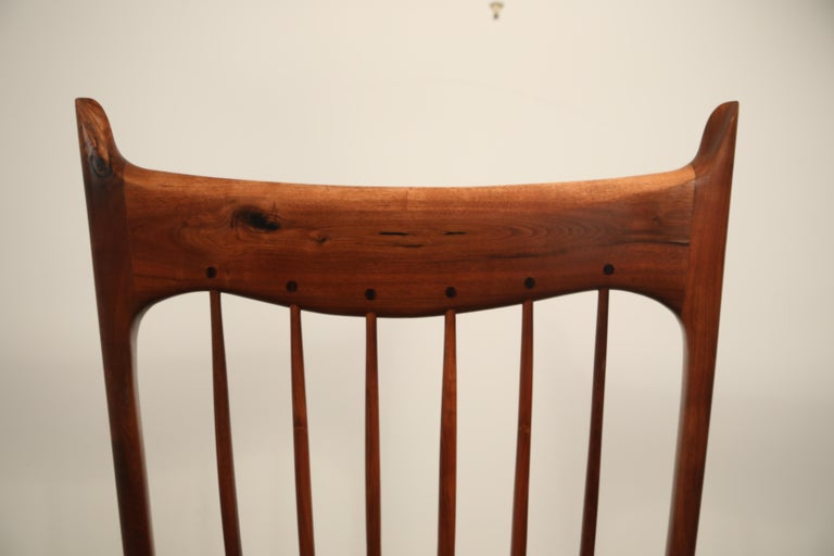 Large Scale Sam Maloof Style Studio Craftsman Rocking Chair, Signed and Dated For Sale 11