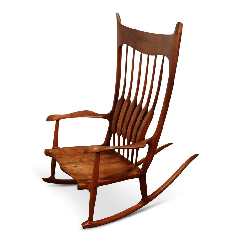 American Craftsman Large Scale Sam Maloof Style Studio Craftsman Rocking Chair, Signed and Dated For Sale