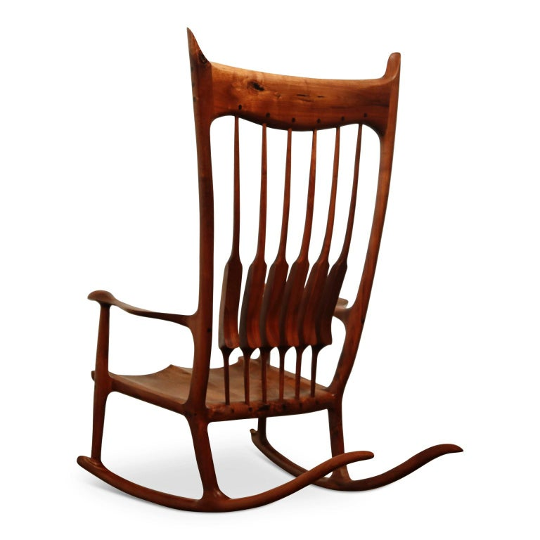 American Large Scale Sam Maloof Style Studio Craftsman Rocking Chair, Signed and Dated For Sale