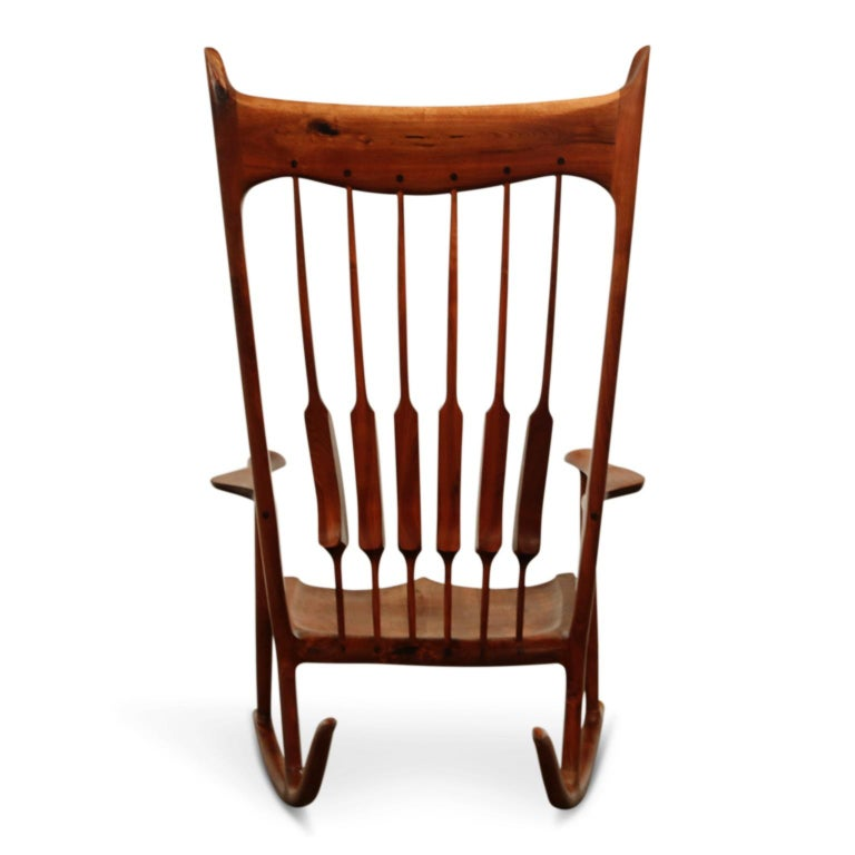 Large Scale Sam Maloof Style Studio Craftsman Rocking Chair, Signed and Dated In Excellent Condition For Sale In Los Angeles, CA