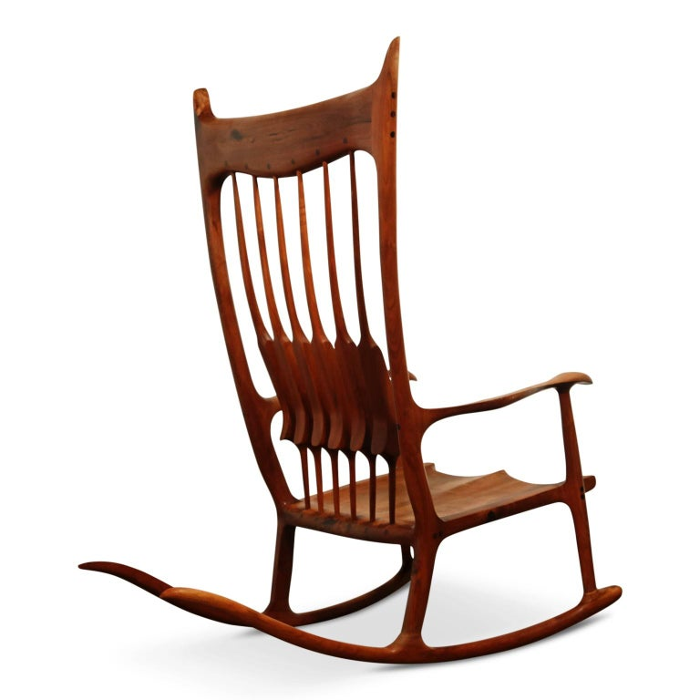 Late 20th Century Large Scale Sam Maloof Style Studio Craftsman Rocking Chair, Signed and Dated For Sale