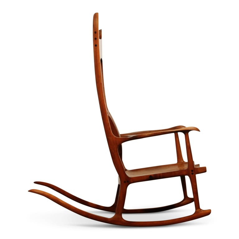 Hardwood Large Scale Sam Maloof Style Studio Craftsman Rocking Chair, Signed and Dated For Sale