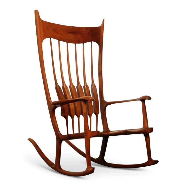 Large Scale Sam Maloof Style Studio Craftsman Rocking Chair, Signed and Dated For Sale 1