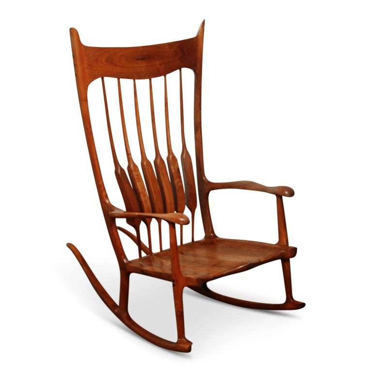 Large Scale Sam Maloof Style Studio Craftsman Rocking Chair, Signed and Dated For Sale 2