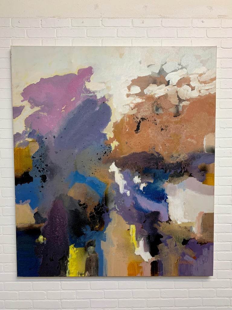 Large-scale signed abstract painting 1970s the signature is unreadable.