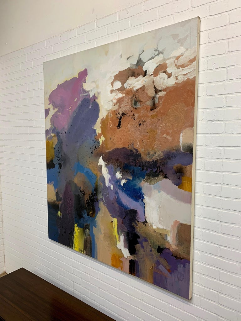 Modern Large-Scale Signed Abstract Painting, 1970s For Sale