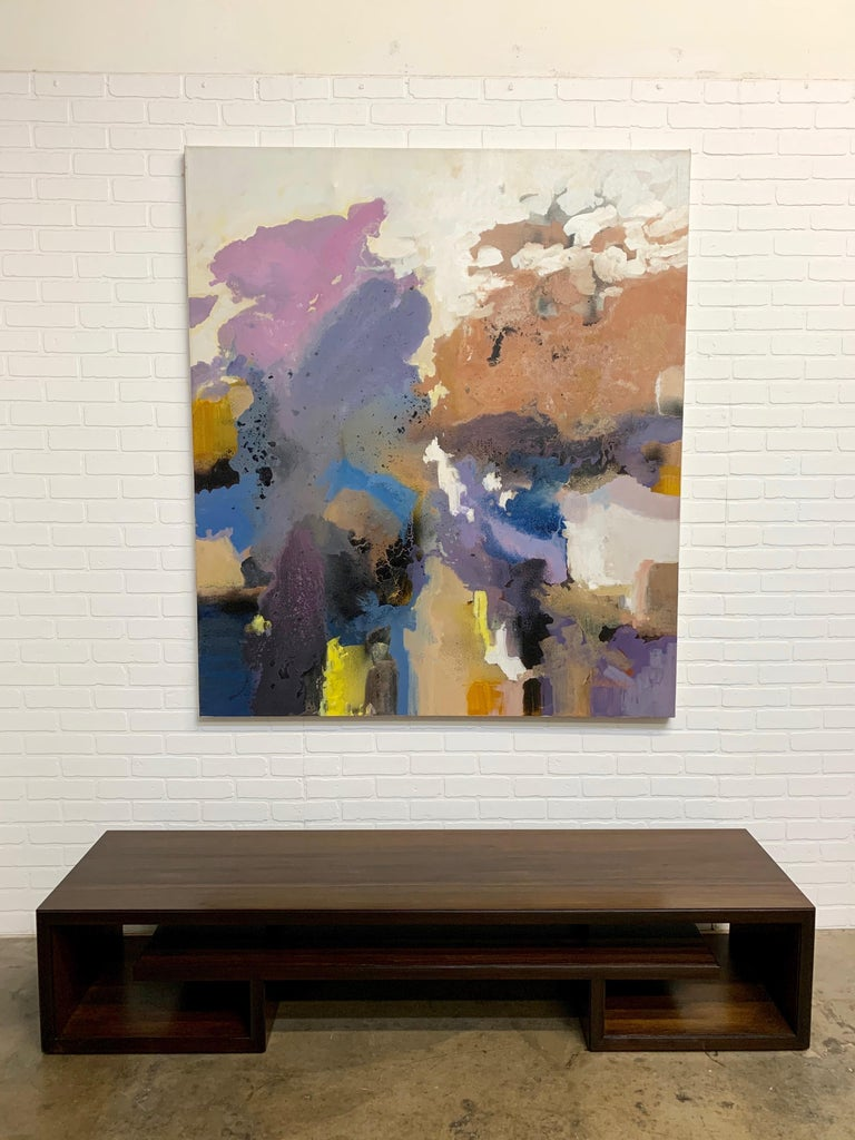 American Large-Scale Signed Abstract Painting, 1970s For Sale