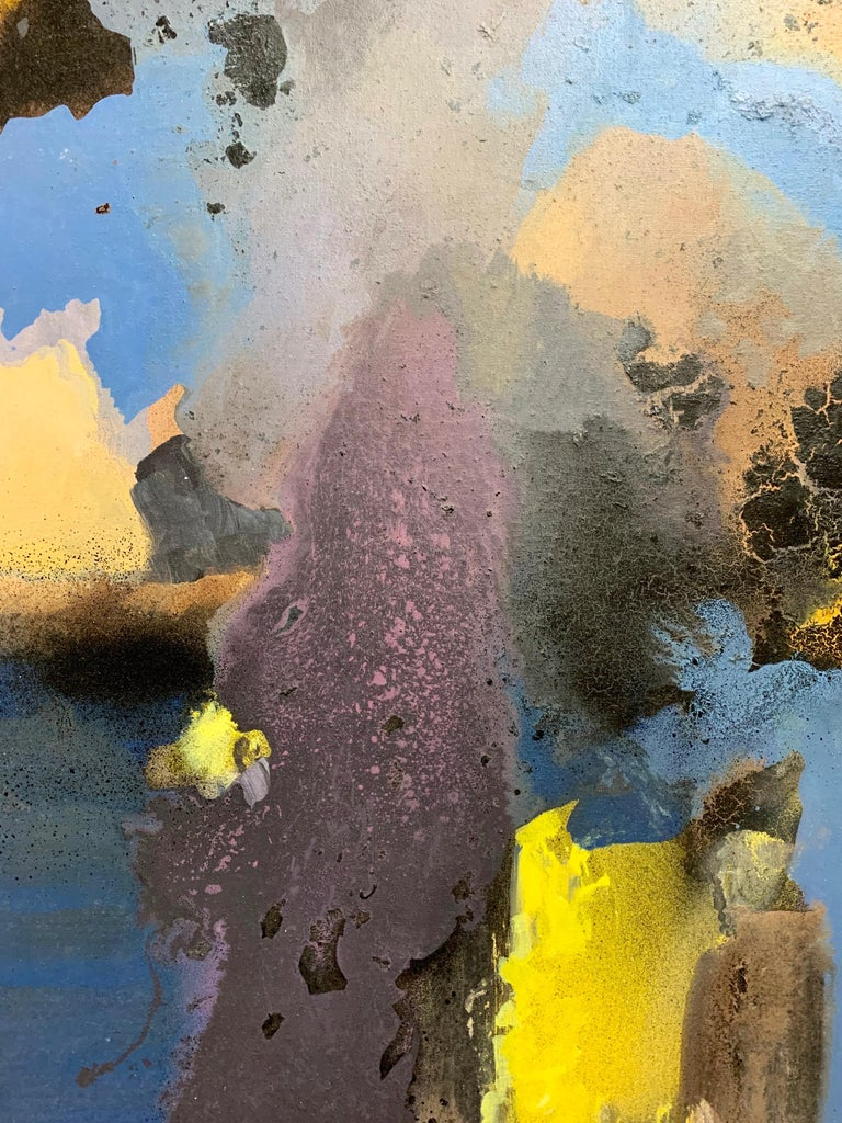 20th Century Large-Scale Signed Abstract Painting, 1970s For Sale